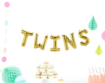 TWINS Letter Balloons, BABY announcement balloon, Rose Gold, Balloon Banner, Baby Shower Decor, Boy, Girl, Gender Reveal Party, Photo Prop