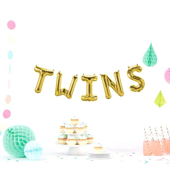 Twins Letter Balloons Baby Announcement Balloon Rose Gold