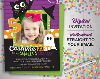 Halloween Birthday Invitation - Costume Party Invite - Kids Halloween Party Photo Invitation - Black cat - ghost -- Any Color
