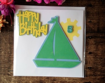 Sailing Boat Happy Fifth Birthday Card