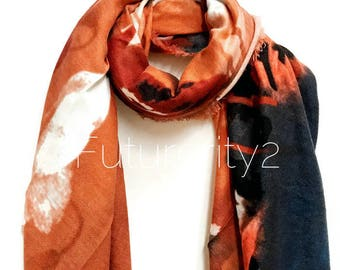 Painted Watercolour Brown Scarf / Autumn Scarf / Winter Scarf / Gifts For Her / Gifts For Mother / Handmade Accessories