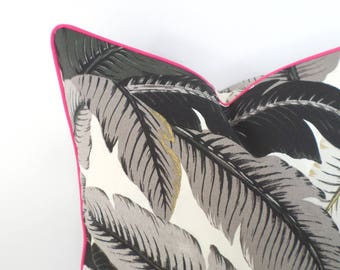 Black palm leaf pillow cover Beverly Hills Martinique Decor, gray and pink outdoor pillow case Tommy Bahama, black outdoor cushion case