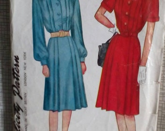 """1940s Dress - 34"""" Bust - Simplicity 1719 - Vintage Sewing Pattern"""