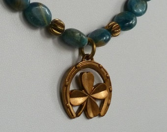 Blue Jasper Necklace with Vintage Brass Lucky Charm
