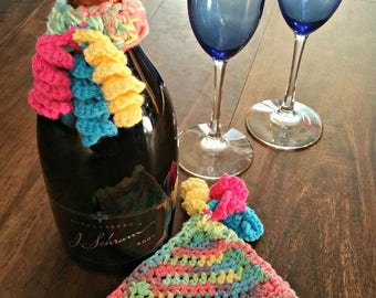 Crochet Party Hat Dishcloth / Mug Rug/ Trivet & Champagne / Wine Collar PATTERN PDF instant digital download