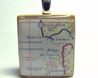 Willapa Bay and Oysterville, Washington - Scrabble tile vintage 1962 map pendant