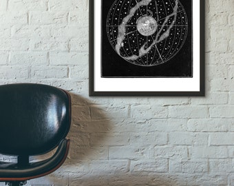 Victorian Celestial Globe Astronomy Reproduction Print, 2 color choices, Home/Office/Child's Decor Print #672/672b