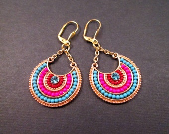 Beaded Disc Earrings, Colorful Tribal Style Earrings, Gold Dangle Earrings, FREE Shipping U.S.