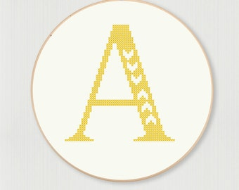 Cross stitch letter A pattern with chevron accent, instant digital download