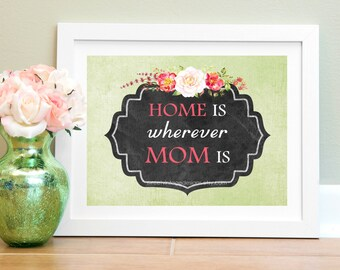 """Mother Printable, """"Home Is Wherever Mom Is"""", Instant Download, Gift For Mom, Mom Birthday, Mom Wall Art"""