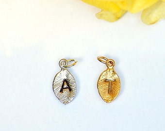Add hand-stamped leaf initial to any order, initial charm