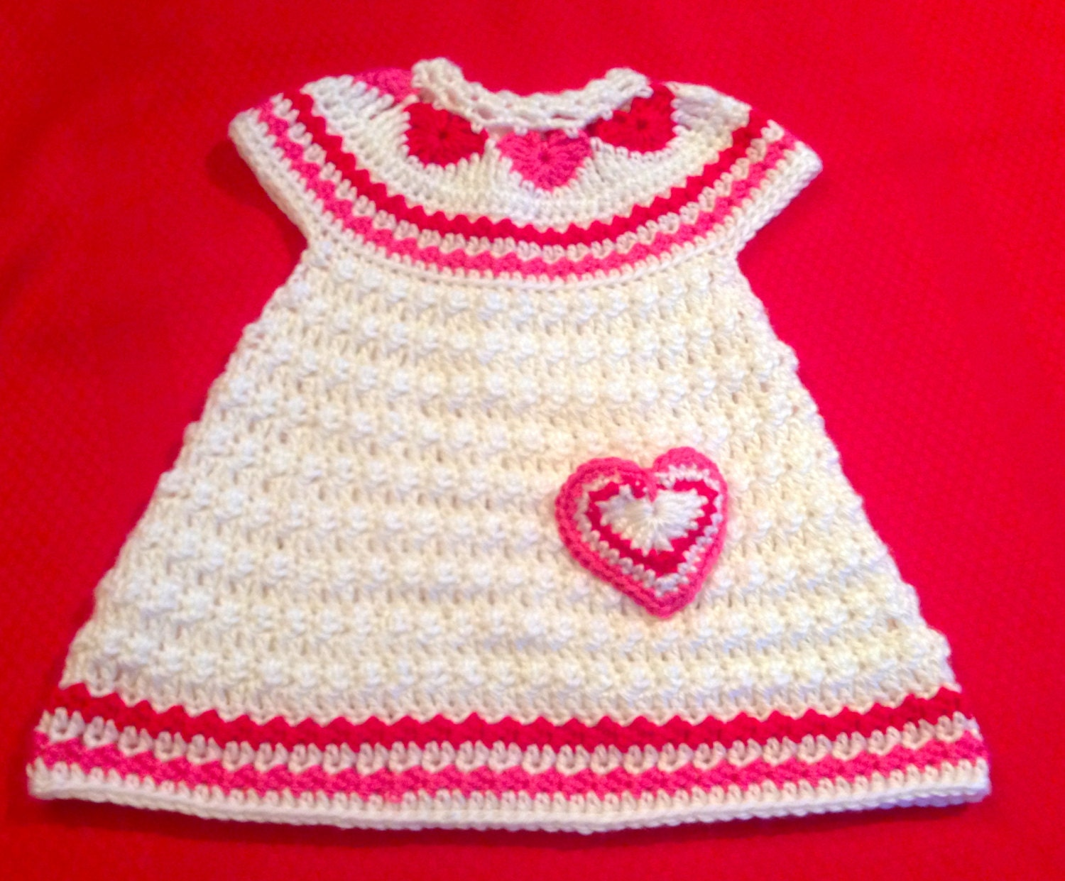 Crochet Pattern for Baby Toddler Jumper Dress Hearts of Love