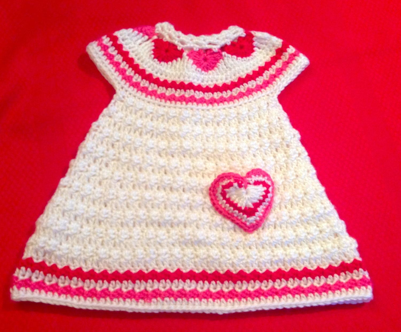 Crochet Pattern for Baby Toddler Jumper Dress, Hearts of Love, PDF ...