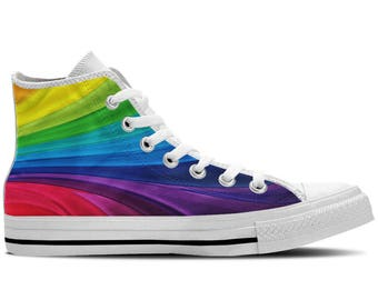 Rainbow Colors - Men's High Top Sneakers / Custom Canvas Shoes with Colorful Design -White