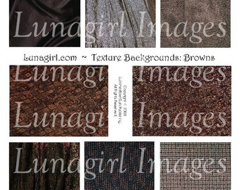 FABRIC BACKGROUNDS digital collage sheet, Brown textures patterns, altered art cards vintage silk Earth Tones sepia images ephemera DOWNLOAD