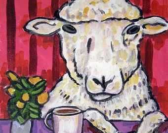 25% off Ram at the Coffee Shop Sheep Art Tile