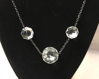 Crystal necklace - chandelier crystal necklace - Boho crystal necklace