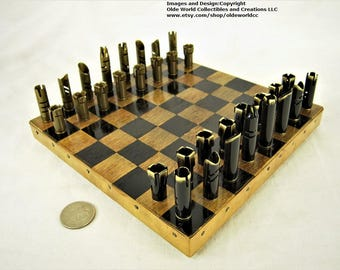 223 Bullet Shell chess pieces and Optional 7  inch copper banded wooden mini  board #1120160027  -Free Shipping to U.S.