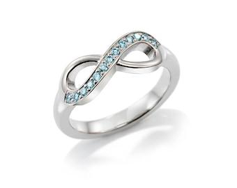 blue Diamond infinity ring, white gold, platinum, unique engagement ring, diamond infinity, anniversary band, light blue wedding ring