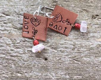 Inspirational copper stamped love earrings with rose quartz silver ear wires Graduation gift Mothers Day gift
