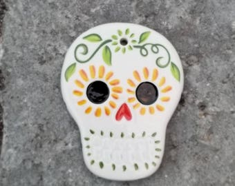 sugar skull day of the dead hand painted candy skull ornament