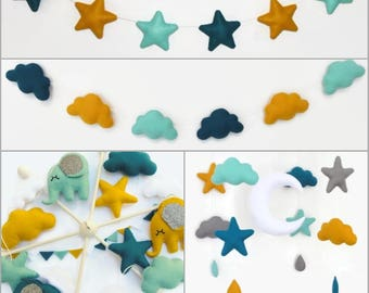 Garland stars or clouds felt matching Paketkdo baby mobile. Color choices