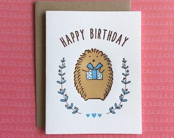Hedgehog Birthday Letterpress Card