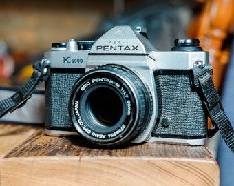 Vintage Pentax K1000 Manual 35mm Film SLR with 50mm f/1.7 Lens. Includes Strap!