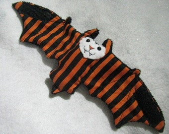 Orange and Black Striped Bat Stuffed Animal, Coffee Cozy, Cup Sleeve