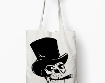 Skull tote bag, Skull bag, canvas tote bag
