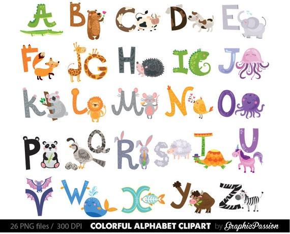 Illustrierte Alphabet Clipart Farbe Alphabet Digital Alphabet