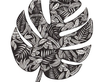 Monstera Leaf Patterned Art Print