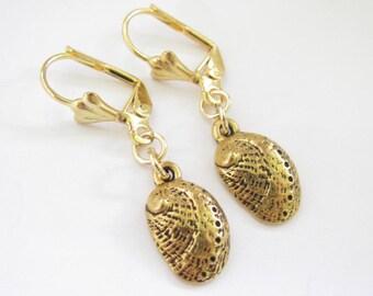 Hawaiian Jewelry Shell Beach Dangle Earrings Abalone Shell Gold Plated Lever Back