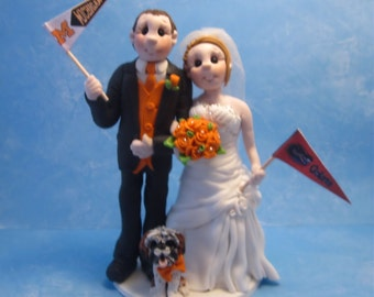 Sports Fans Wedding Cake Topper,Custom wedding cake topper, Bride and groom cake topper, personalized cake topper, Mr and Mrs cake topper