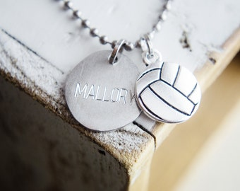 Sports Necklace | Custom Name Necklace | Engraved Necklace | Team Sports Charms Baseball Volleyball Football Baseball Basketball