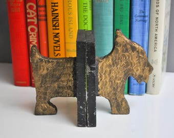Vintage Cast Iron and Solid Brass Scottie Dog Bookends - Scottish Terrier Bookends