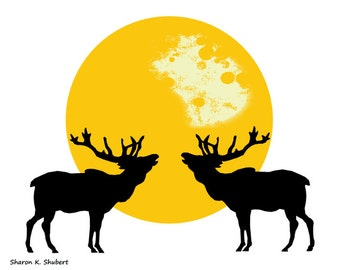 Bugling Elk Art, Yellow Black White, Southwestern Totem Animal, Wildlife Silhouette, Moon Home Decor, Wall Hanging, Giclee Print, 8 x 10