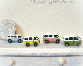 One Tiny Hippie Van, Boy Toy, Dollhouse Miniature, Tiny Micro Van, 12th Scale, Unique Collectible, Hand Sculpted, Tiny Vehicle