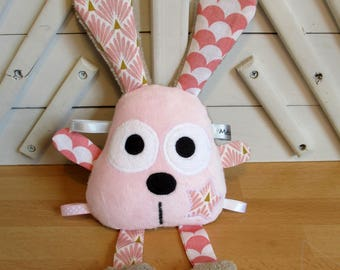 Pink Brown rabbit - toy rattle toy
