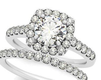 1ct  6.5mm  Forever Brilliant Moissanite Solid 14K White Gold  Halo  Engagement  Ring Set  -  OV61687