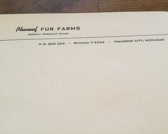 Vintage supply paper letterhead Phaneuf Fur Farm Traverse City Michigan