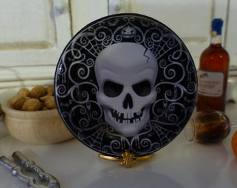 Halloween Skull Dollhouse Miniature Plate in 1:12 Scale