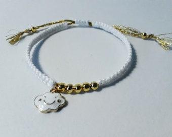 Macrame, beaded bracelet and charm (to customize)