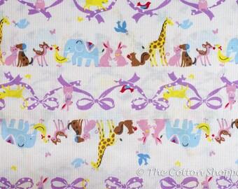 Kokka Fabric ~ Zoo Animals ~ Japanese Fabric ~  Giraffe Rabbit Dog Cat ~ Pink Fabric ~ Quilt Fabric ~ Apparel Fabric ~ Home Decor Fabric