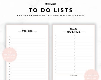 TO DO LISTS / To Do List Printable / 2018 Planner / Printable To Do Lists / To Do List / To Do / The Harlow Planners in Perfume / 415