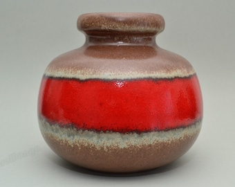 SALE! . West German Scheurich vase 284-15   red / brown
