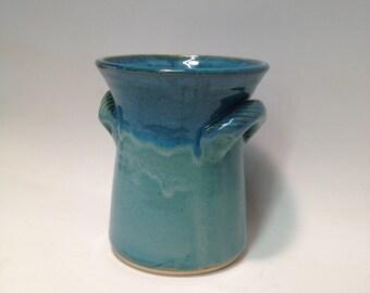 Turquoise Spoon Jar / Handmade Pottery / Ceramic Wine Cooler