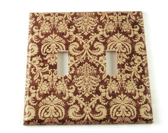 Double Switch Plate in Brown and Cream Damask (221D)