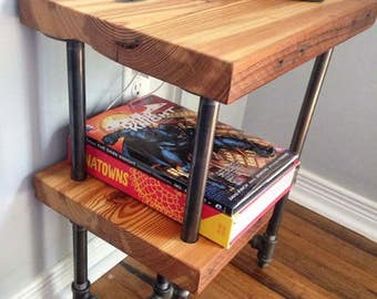 Reclaimed wood and industrial pipe side table    end table    night stand    rustic table