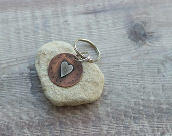 Copper Rustic Keyring With Silver Folk Heart Motif, Oxidised Copper Keyring, Handmade Gift For Her, Valentine's Day Gift For her